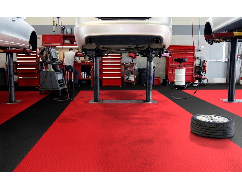 Floor tiles plastic floor flooring floor material for Mechanic shop flooring